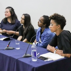 Panel 1: Against the Grain: addressing absence, creating narratives, messing the archives. Kajal Patel, Annie Kwan, Amal Al Haag with chair/discussant – Melanie Keen, Director of Iniva.